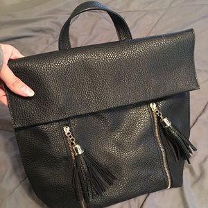 Express black leather bag